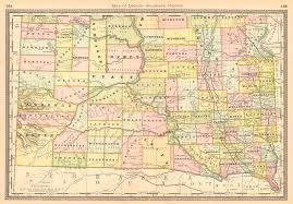 Map South Dakota Maps Antique United States Us States South Dakota