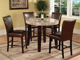 faux travertine round top modern 5pc counter height dining set
