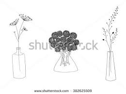 Drawings Of Flowers In A Vase Hand Drawn Stylized Outline Flower Vase Stock Illustration