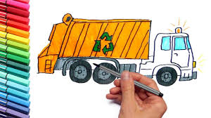 how to draw and color a garbage truck street vehicles drawing
