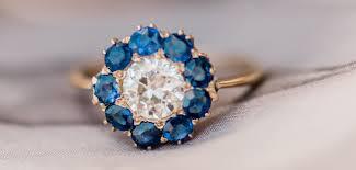 diamond rings vintage sapphire engagement rings trumpet u0026 horn