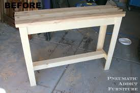 pneumatic addict butcher block sofa table