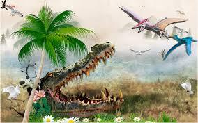 customized crocodile dinosaur wallpaper pvc wall covering 3d large