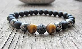 bracelet man onyx images Men 39 s chakra bracelet matte black onyx bracelets tiger eye lava jpg