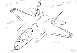stealth multirole fighter f 35 coloring page free printable