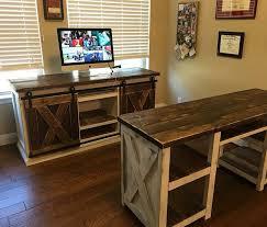 Door Desk Diy White Sliding Barn Door Office Set Diy Projects