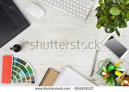 Graphic Designer Desk Graphic Designer Desk Essentials Top View Stock Photo 539934379