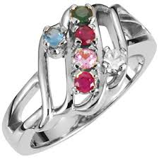 6 mothers ring silver 1 to 6 stones s ring
