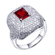 new jewelry rings images New red stone wedding ring white gold color prong setting cubic jpg