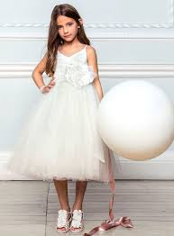 lydia ivory strappy bridesmaid dress with full skirt child