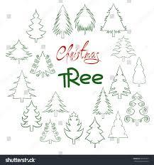 set christmas trees pine tree outline stock vector 520197817