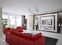 exclusive living room interior with stylish red sofa set and