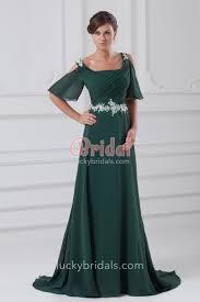 dark green chiffon long evening prom dress with short sleeves