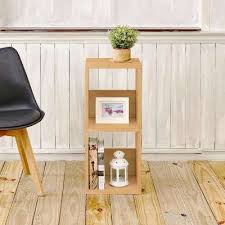 Natural Oak Leaning Shelves With Bookcases Home Office Furniture The Home Depot