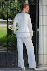 white chiffon mother of the bride pants suits wedding nmo 024