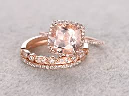 bridal gold ring 2 5 carat cushion cut morganite wedding set diamond bridal ring