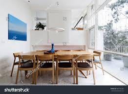 beautiful scandinavian style dining room mid stock photo 485756320
