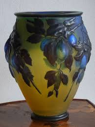 Galle Vase Blue Plum Mold Blown Cameo Glass Vase By Emile Gallé Circa 1918
