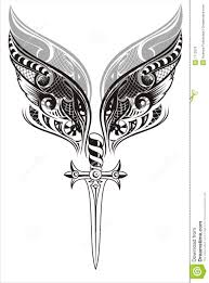 wings and sword tattoo design stock vector image 7712076