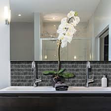 Wall Backsplash Smart Tiles Subway Marbella 10 95 In W X 9 70 In H Peel And