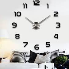 large wall clock metal diy industrial silver modern 3d numbers