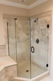 Bathroom Shower Doors Ideas by Bathroom Frameless Shower Doors With Black Handle Matched With