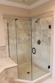 Bathroom Shower Doors Ideas Bathroom Frameless Shower Doors With Black Handle Matched With
