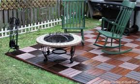 floor acacia wood 6 slat interlocking deck tiles with round fire