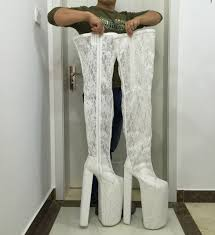 womens boots size 14 white lace thigh high boots wedding shoes boots extram