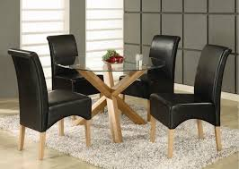 Glass Dining Sets 4 Chairs Oak And Glass Dining Table And Chairs Rochelle Solid Oak Glass