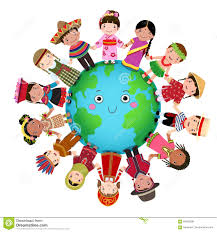 multicultural children holding around the world stock vector