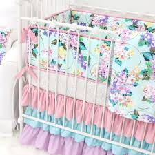 Pastel Crib Bedding S Gold Pastel Floral Ruffle Baby Bedding Caden
