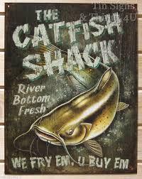 catfish shack funny tin sign vtg bar garage metal fishing poster