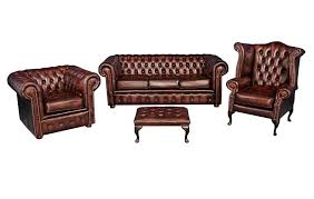 Club Chairs With Ottoman Chesterfield Leather Suite Sofa Chairs Ottoman
