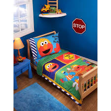 Elmo Bedding For Cribs Sesame Construction Zone 3 Toddler Bedding Set With