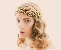 gold headpiece golden bridal headpiece gold or silver wedding crown bridal