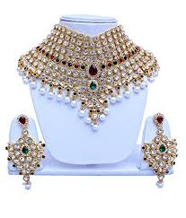 bridal choker necklace images Lucky jewellery ethnic maroon green partywear jewelry pearl jpg