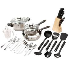 Stainless Steel Kitchen Set by Kitchenaid 10 Piece Stainless Steel Cookware Set In Empire Red