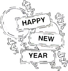 new years streamers new year s coloring page happy new year sign streamers and