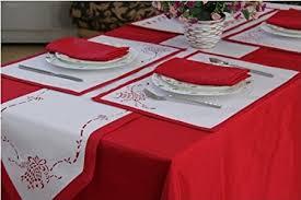 table setting runner and placemats christmas bell red white table setting for 2 4 6 or 8 people