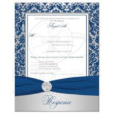 silver and royal blue wedding christian wedding rsvp card royal blue silver damask printed