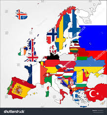 Europe Country Flags Highly Detailed Europe Map Country Flags Stock Vector 193362047