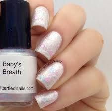White Pink Nail Baby S Breath Pearl White Blue Pink Glitter Nail