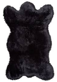 black fau bear skin fur rug without head and claw for floor