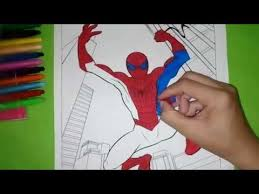 coloring pages arts kids spiderman jump coloring pictures