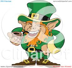 clipart illustration of a jolly st patricks day leprechaun with