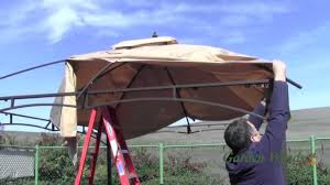 Patio Gazebo Replacement Covers by How To Install A Lowe U0027s Allen Roth 10x12 Gazebo Canopy Youtube