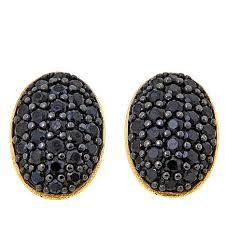 button earrings bellezza 1 31ctw black spinel bronze oval button earrings
