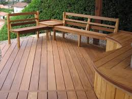 wooden deck with built in deck and fire pit deck benches for