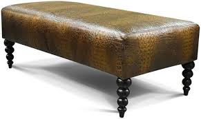 Hide Ottoman Norah Rectangular Hair On Hide Ottoman With Turned Legs